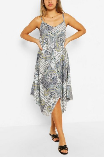 White Paisley Print Hanky Hem Dress