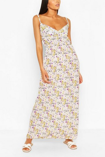 Lilac Floral Strappy Maxi Dress