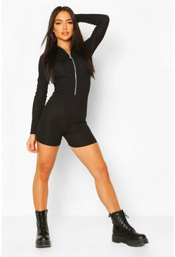 Black Ribbed Zip Through High Neck Unitard