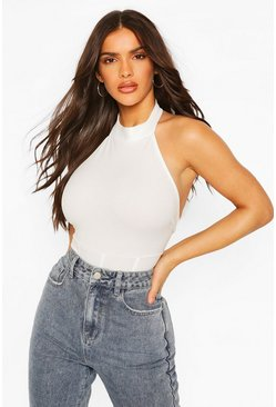 Ivory Crepe High Neck Corset Detail Bodysuit