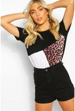 Black Leopard Colour Block T-Shirt