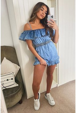 Light blue Strappy Frill Denim Playsuit