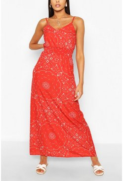Red Paisley Scarf Print Shirred Maxi Dress