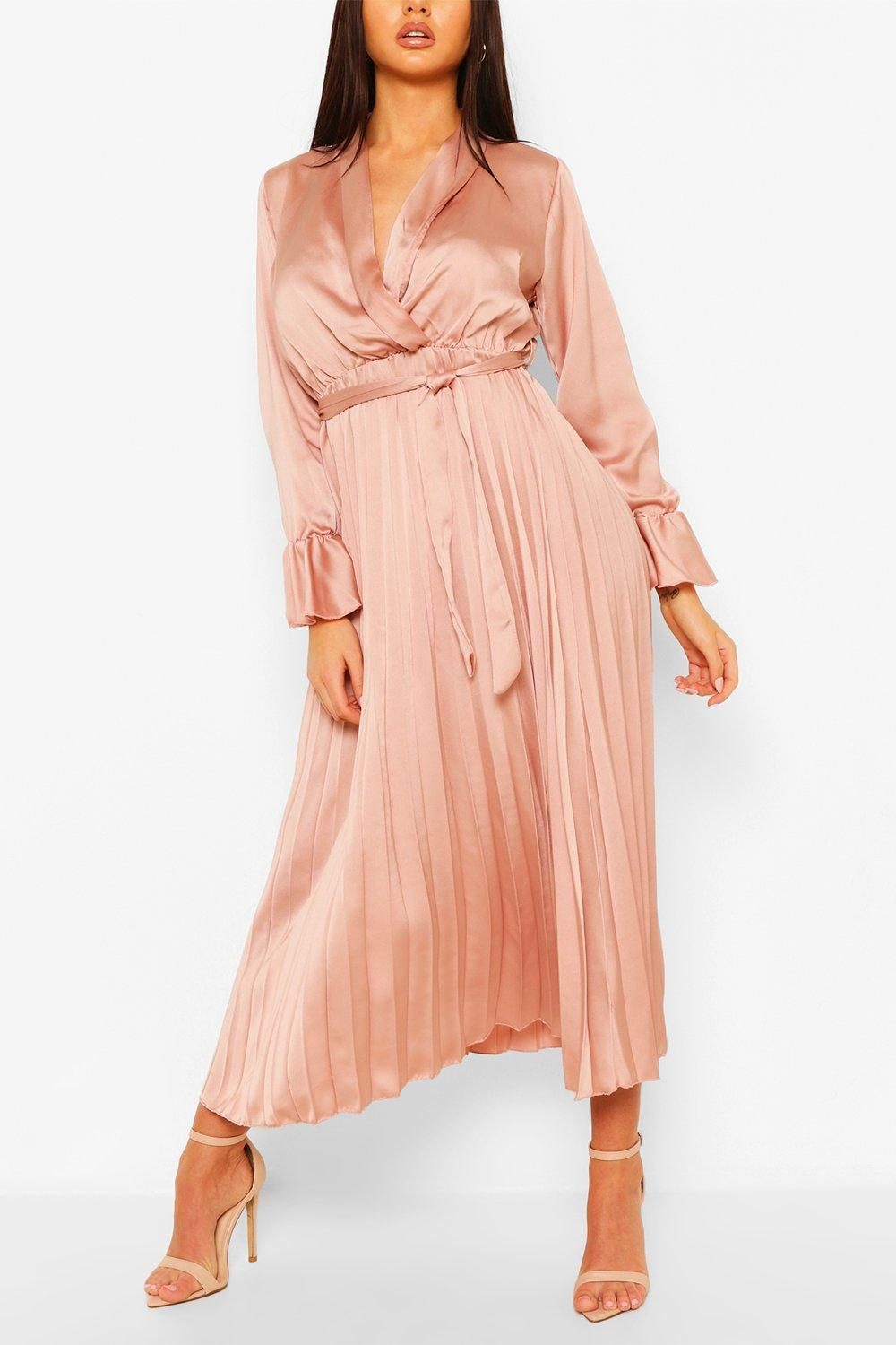 70s Prom, Formal, Evening, Party Dresses Womens Satin Pleated Midaxi Dress - Pink - 10 $30.00 AT vintagedancer.com