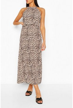 Brown Leopard Print High Neck Maxi Dress