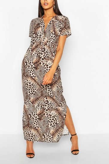 Brown Mixed Animal Maxi Dress