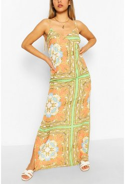 Orange Scarf Print Cami Maxi Dress