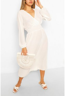 White Wrap Long Sleeve Midi Dress