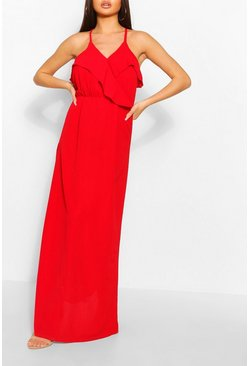 Red Strappy Ruffle Detail Maxi Dress
