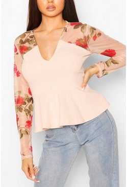 Top peplum floral de malla, Color carne