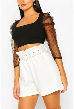 Black Dobby Mesh Square Neck Crop Top