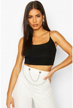 Black Double Slinky Strappy Crop Top