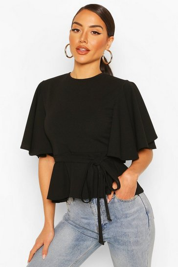 Black Crepe Angel Sleve Peplum Top