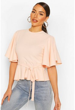 Blush Crepe Angel Sleve Peplum Top