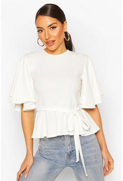Ivory Crepe Angel Sleve Peplum Top
