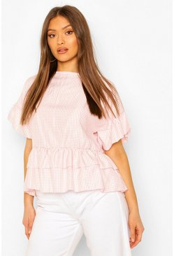 Blush Woven Gingham Smock Top