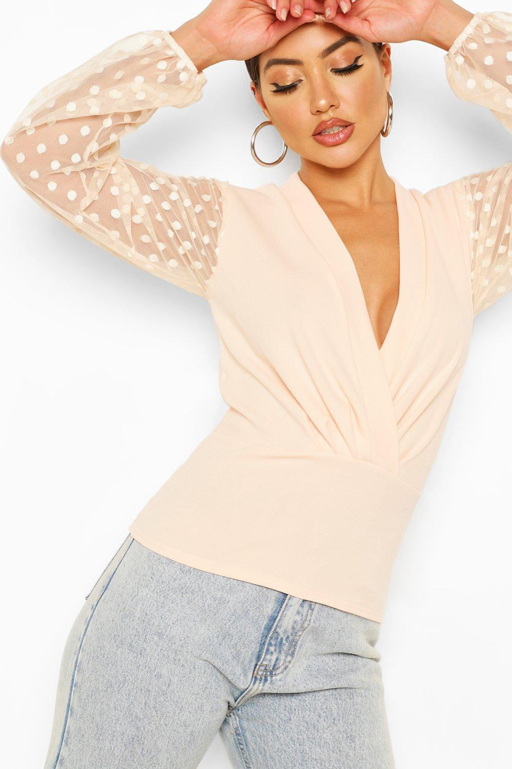 womens dobby mesh lunge top - pink - 2