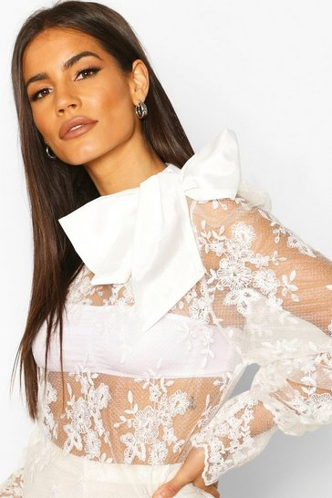 Ivory Embroidered Bow Detail Blouse