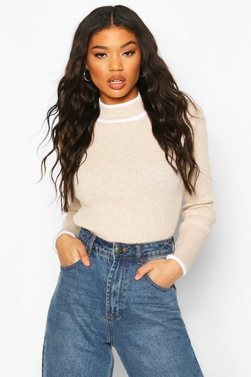 Stone Contrast Cuff Knitted Jumper