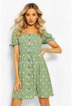 Sage Woven Spot Shirred Butoon Detail Skater Dress