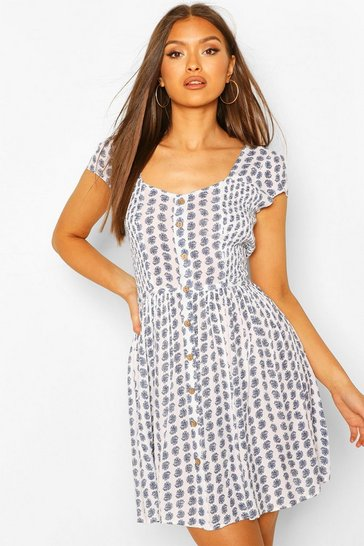 Blue Paisley Print Shirred Side Skater Dress