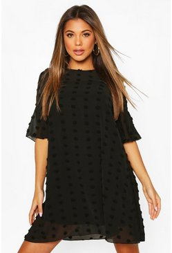 Black Pom Pom Dobby Smock Dress