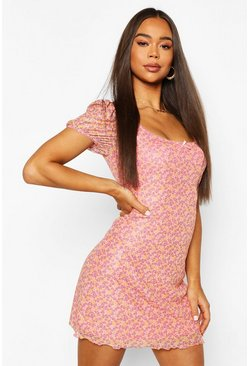 Pink Mesh Ditsy Print Mini Dress