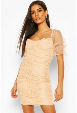 Soft pink Dobby Mesh Rouche Detail Mini Dress