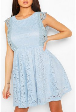 Powder blue Lace Tiered Skirt Skater Dress