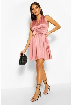 Blush Satin Waist Detail Skater Dress