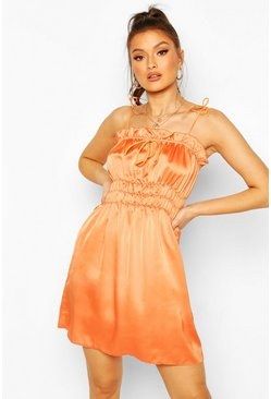 Orange Satin Strappy Shirred Skater Dress
