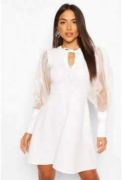 White Organza Sleeve Keyhole Detail Skater