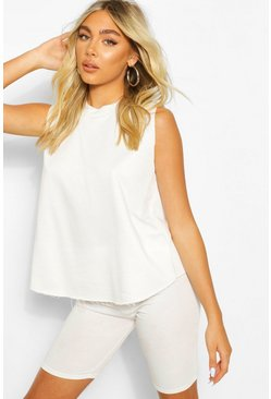 White Jersey High Neck Tank Top
