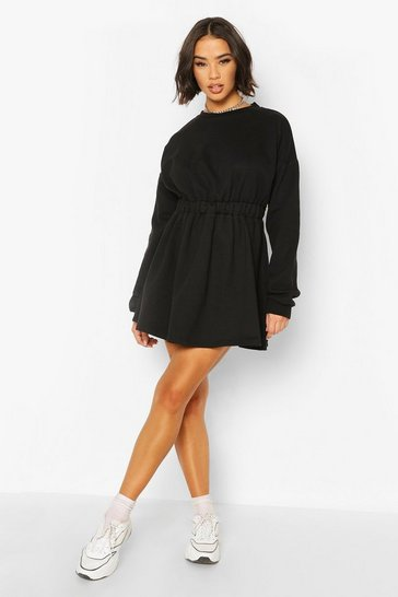 Black Gathered Waist Sweat Dress