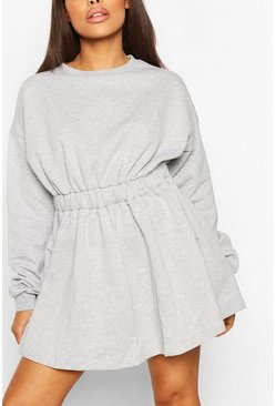 Grey Gathered Waist Sweat Dress