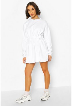 White Gathered Waist Sweat Dress