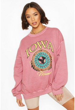 Terracotta Iowa Washed Oversized Sweatshirt