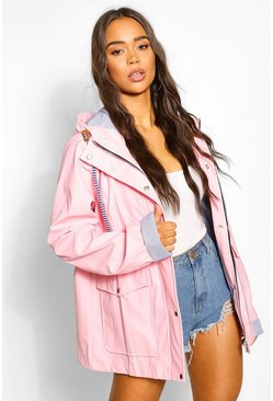 Pink Coated Pocket Detail Hood Mac