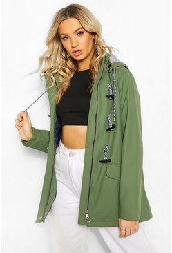 Khaki Coated Toggle Detail Hooded Rain Mac