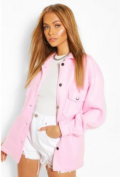 Pink Soft Touch Oversized Shacket