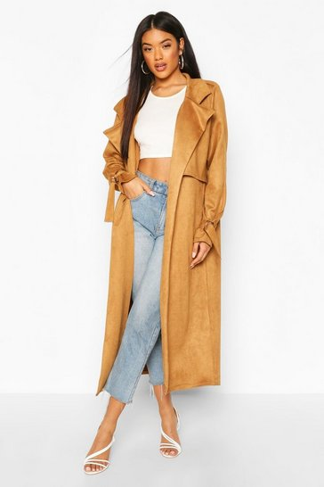 Camel Suedette Trench Coat