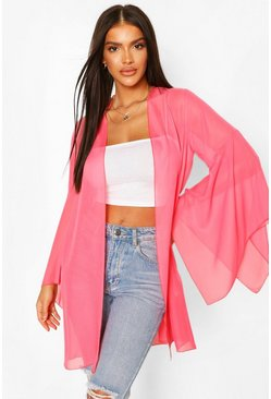 Pink Wide Sleeve Belted Kimono