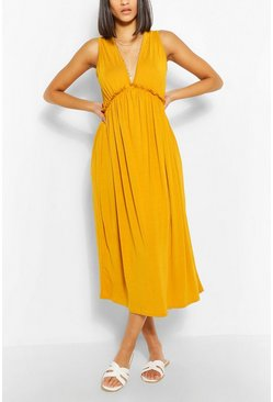 Mustard Sleeveless Frill Detail Smock Dress