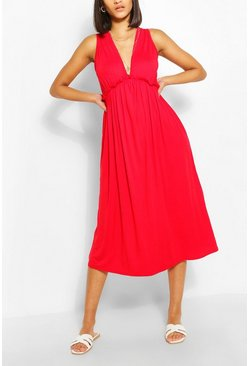 Red Sleeveless Frill Detail Smock Dress