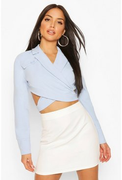 Blue Pocket Belt Detail Cropped Top