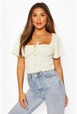 Mint Ribbed Lettuce Hem Ruched Top