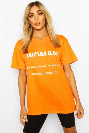 Orange Woman Print T-Shirt
