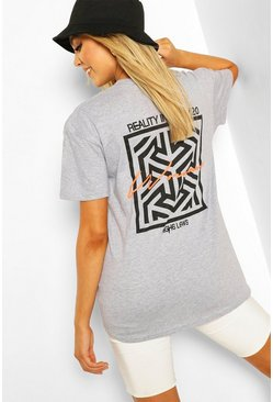 Grey marl Woman Geo Print T-Shirt