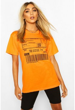 Orange Barcode Print T-Shirt