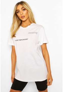 White Lost Reputation Slogan Print T-Shirt